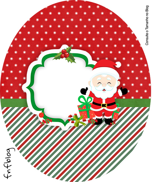 Rótulo Tubete Oval Natal Papai Noel