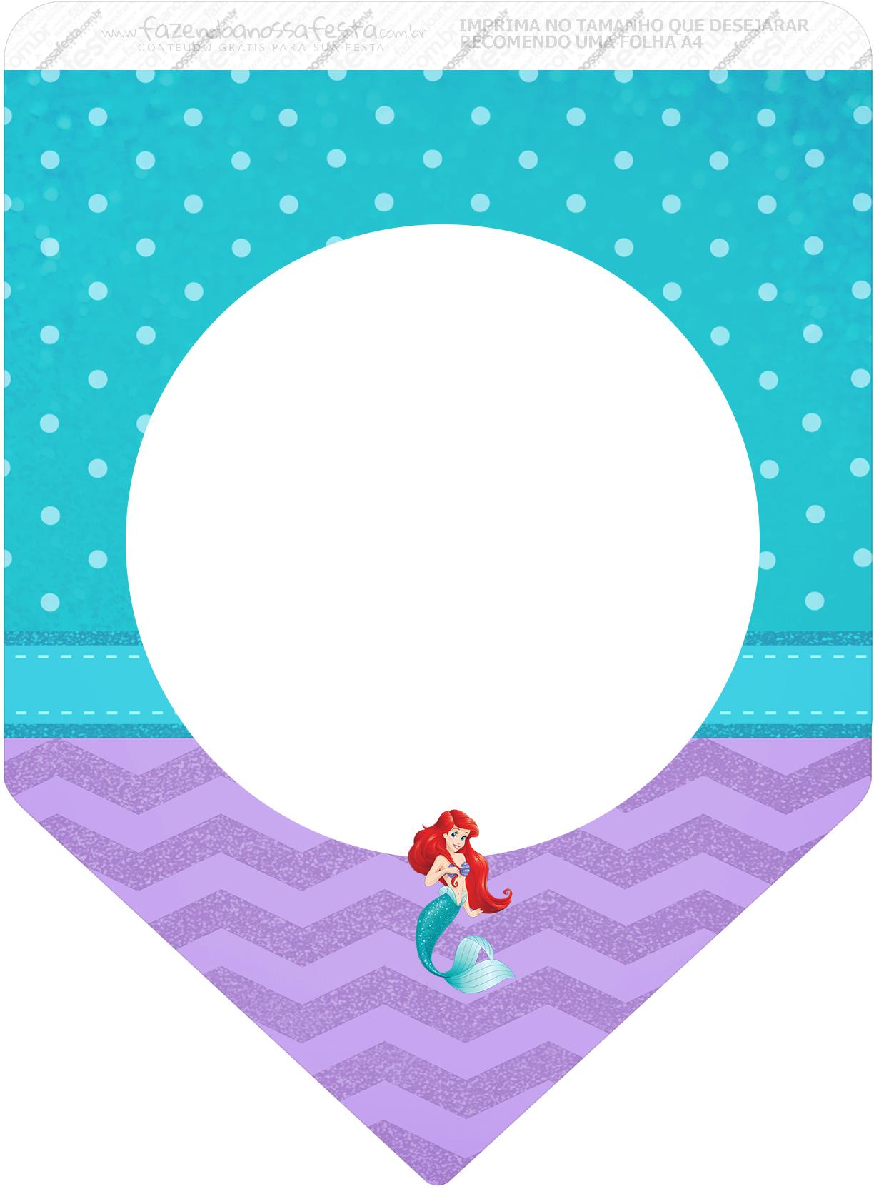 Bandeirinha Varalzinho 3 Pequena Sereia Ariel