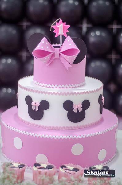 Bolo Festa Minnie Rosa da Lívia