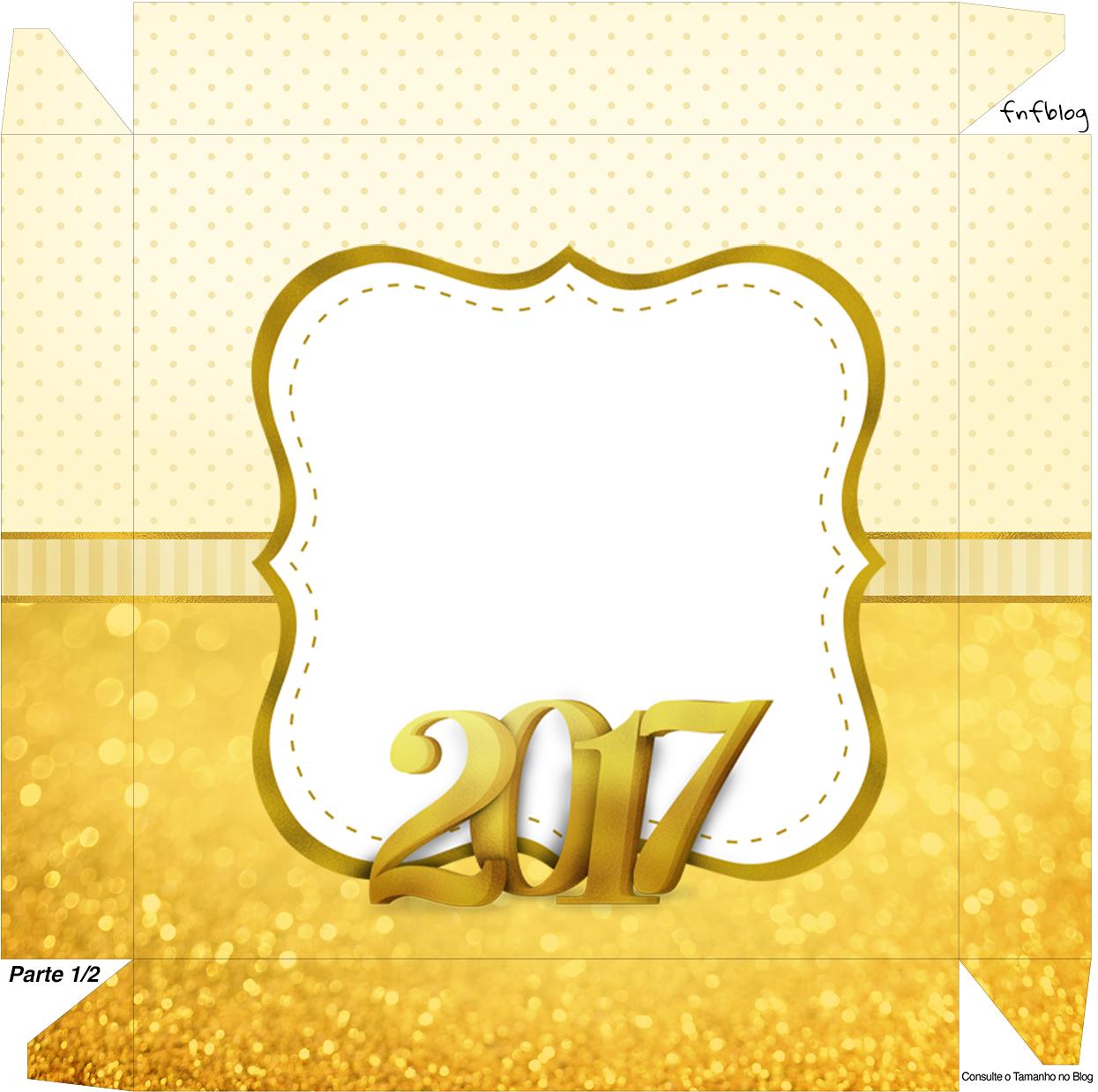 Caixa bombom tampa Ano Novo 2017