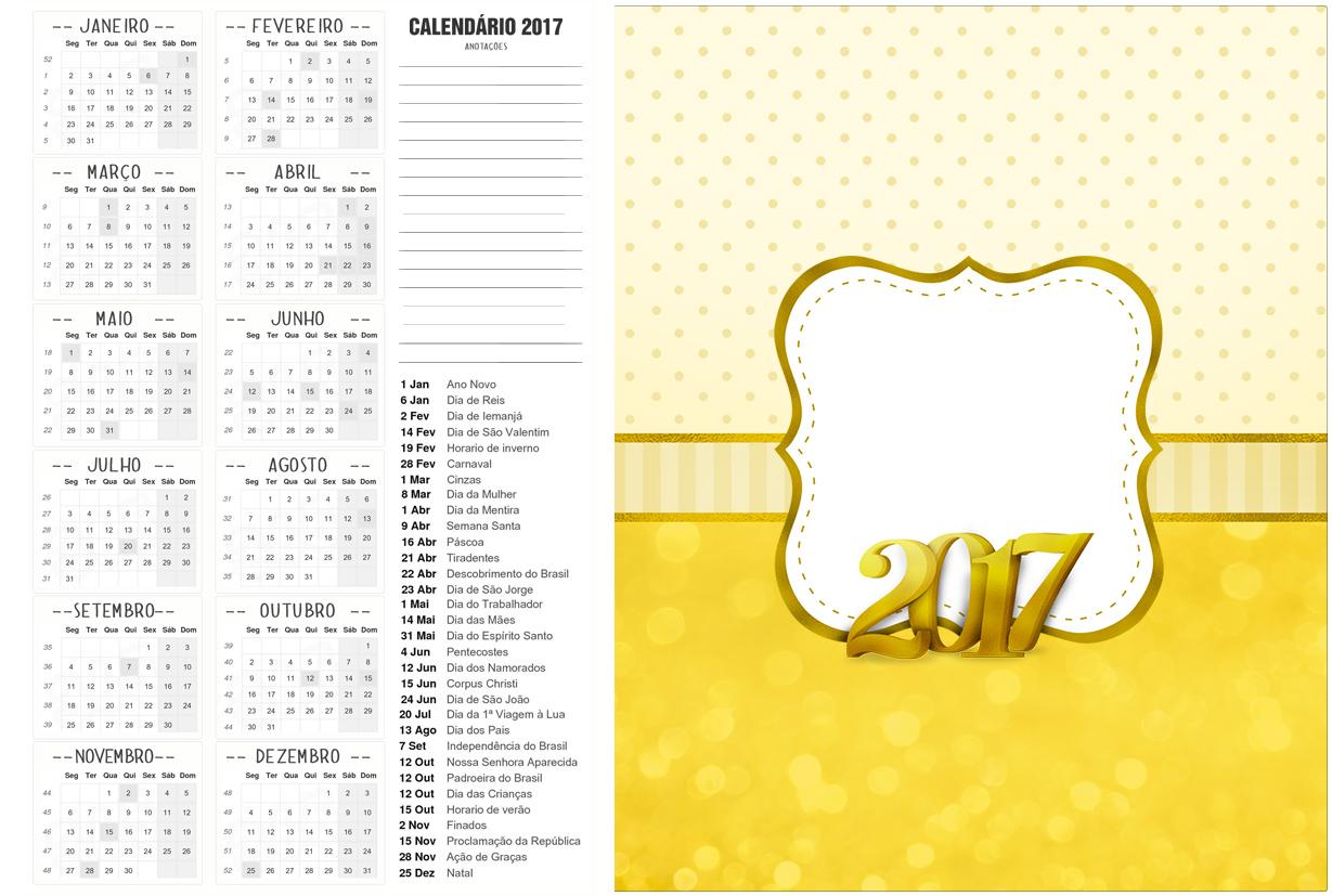 Calendario 2017 Ano Novo 2017