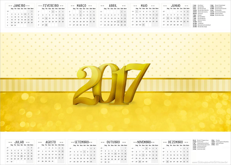 Calendário 2017 Ano Novo 2017