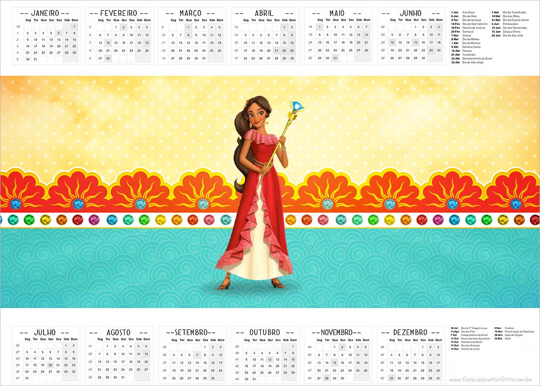 Calendário 2017 Elena de Avalor