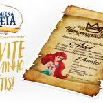 Convite Pergaminho Pequena Sereia