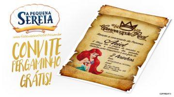 Convite Pergaminho Pequena Sereia Modelo