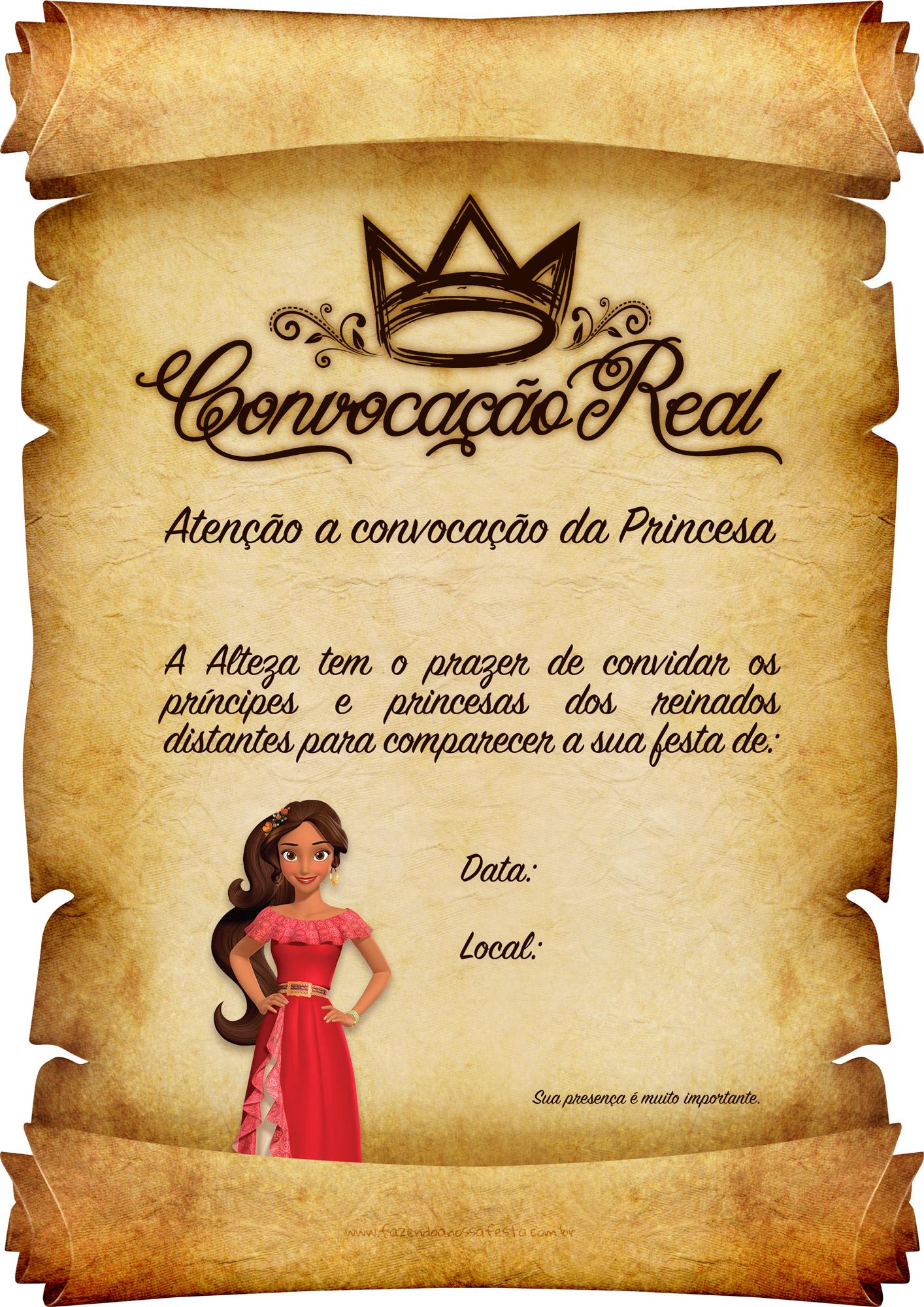 Convite Pergaminho Princesa Elena de Avalor 2
