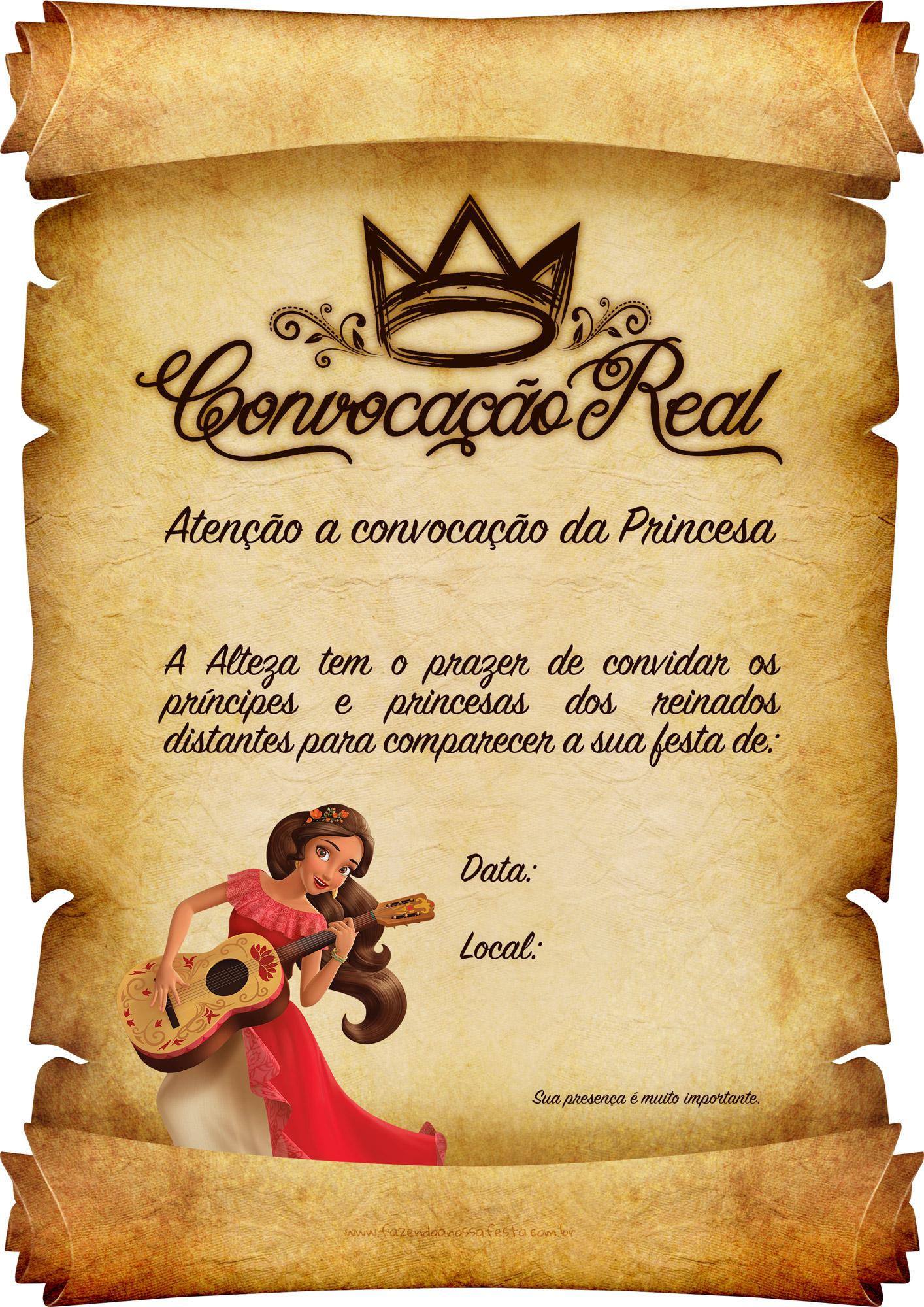 Convite Pergaminho Princesa Elena de Avalor 7