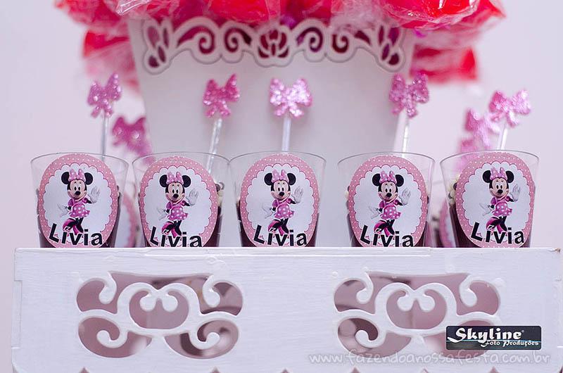 Copo de brigadeiro Festa Infantil Minnie Rosa da Lívia