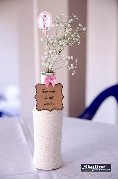 Garrafa personalizada Festa Minnie Rosa da Lívia
