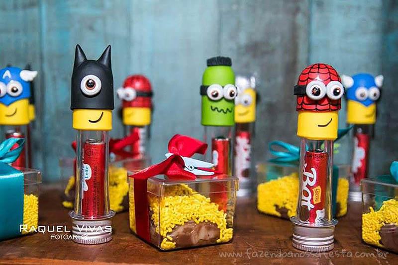 Ideias para Festa Minions Super-Heróis Tubetes