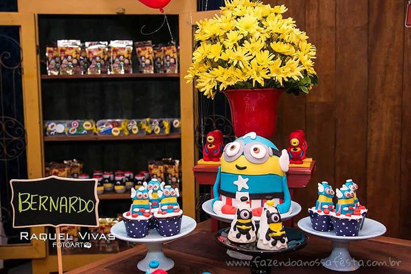 Ideias para Festa Minions Super-Heróis Doces
