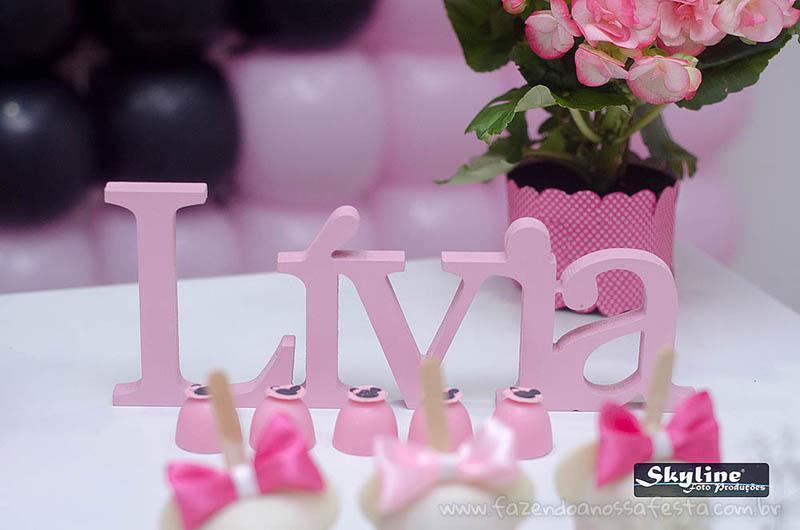 Letras 3D Festa Minnie Rosa da Lívia