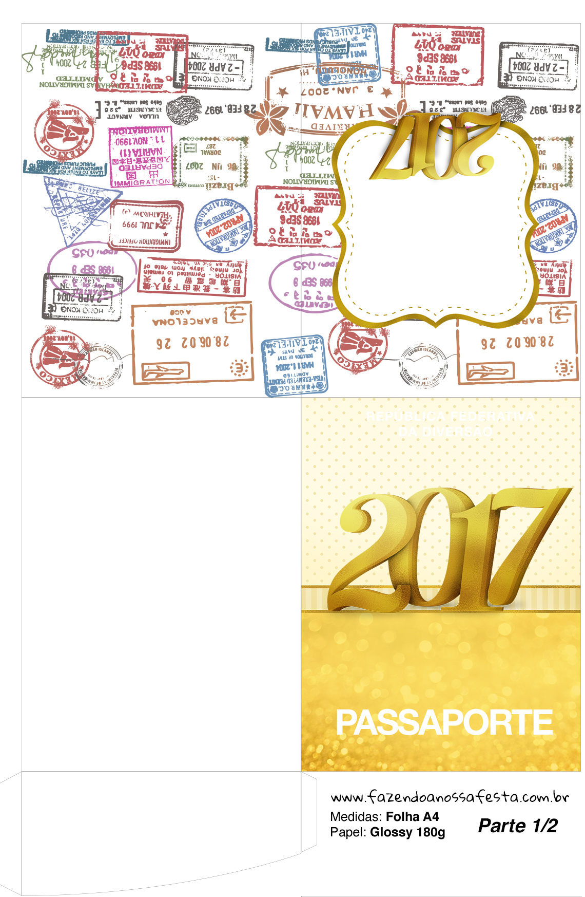 Molde Passaporte Ano Novo 2017