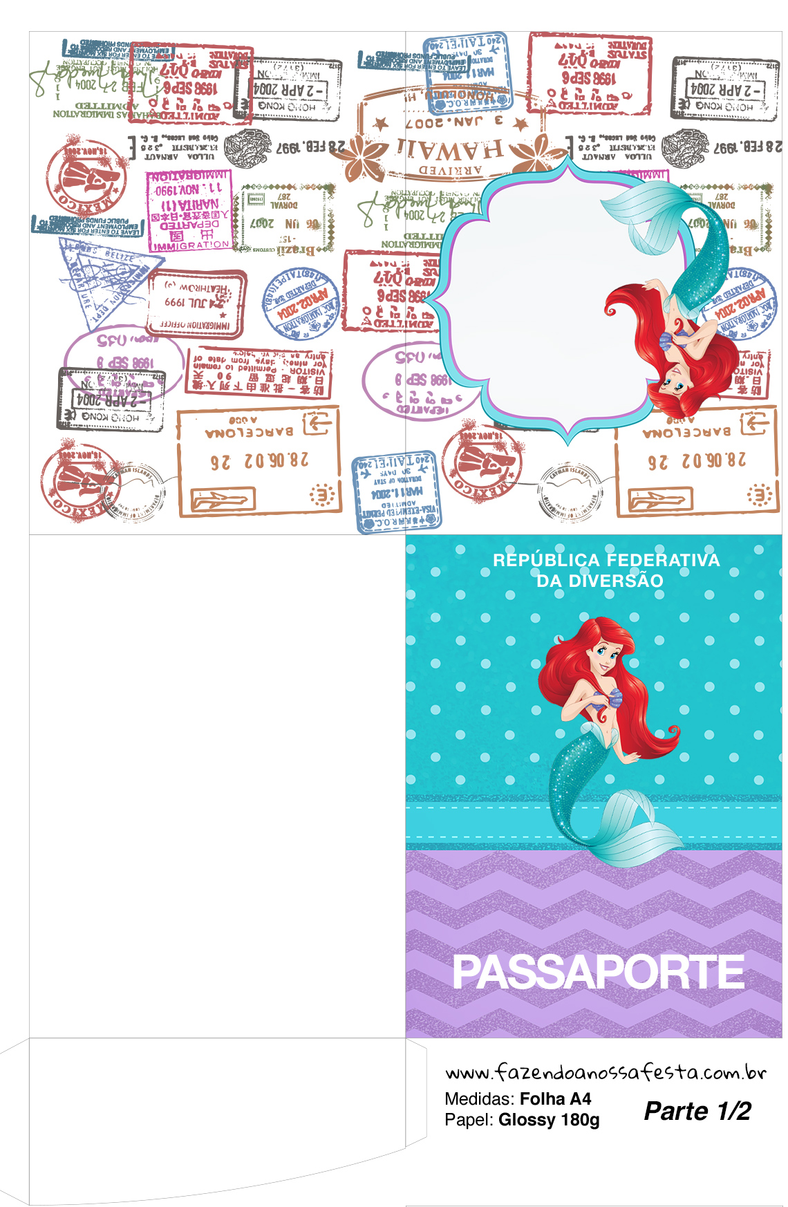 Molde Passaporte Kit Festa Pequena Sereia