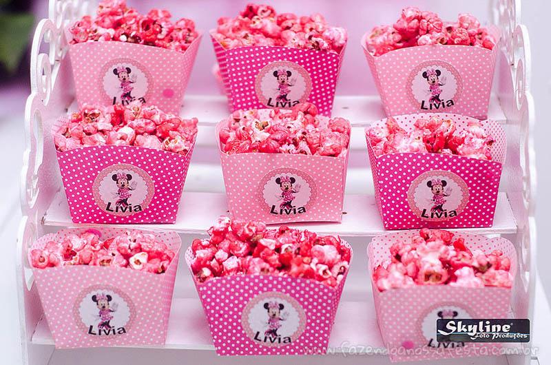 Pipoca doce Festa Infantil Minnie Rosa da Lívia
