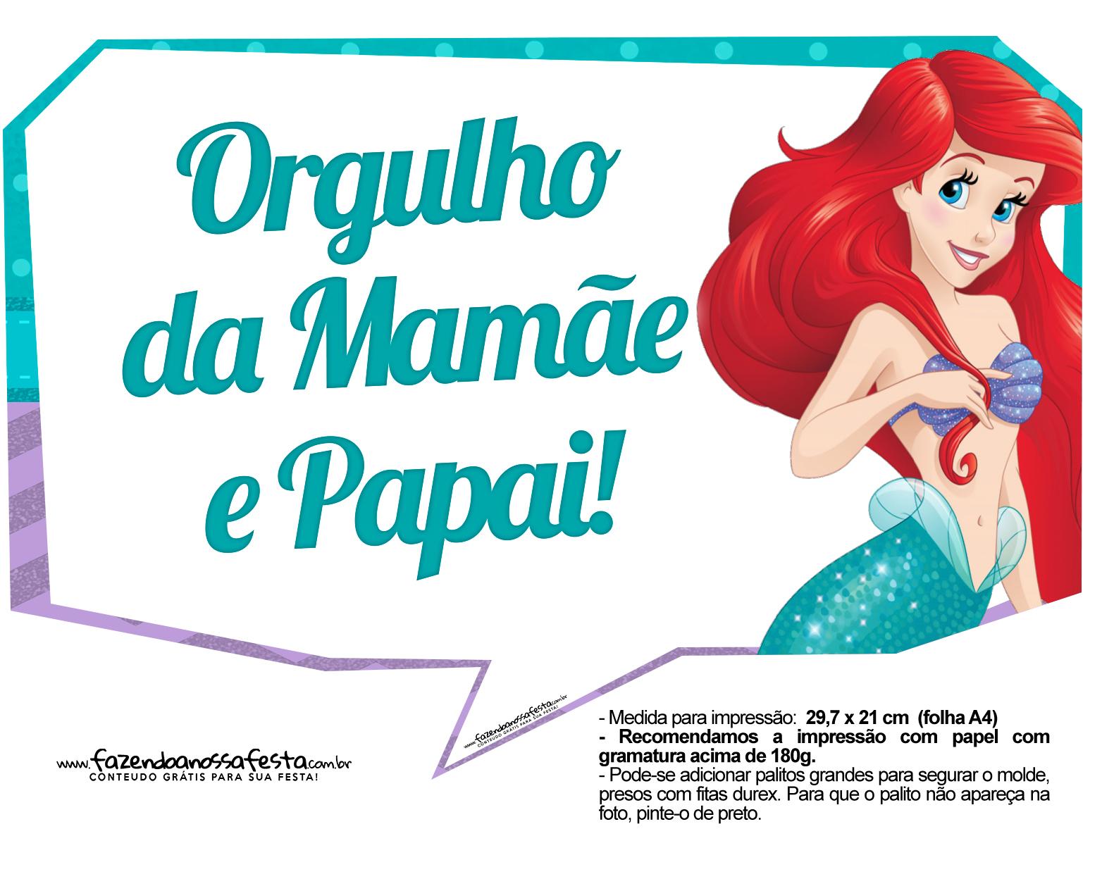 Plaquinhas Pequena Sereia Ariel 3