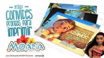 Convite Moana Pronto para Imprimir
