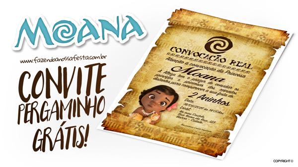 Convite Pergaminho Moana Baby