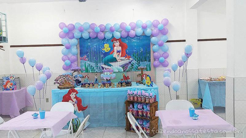 Festa Pequena Sereia da Maria Vitória -> Decoração De Pequena Sereia Simples