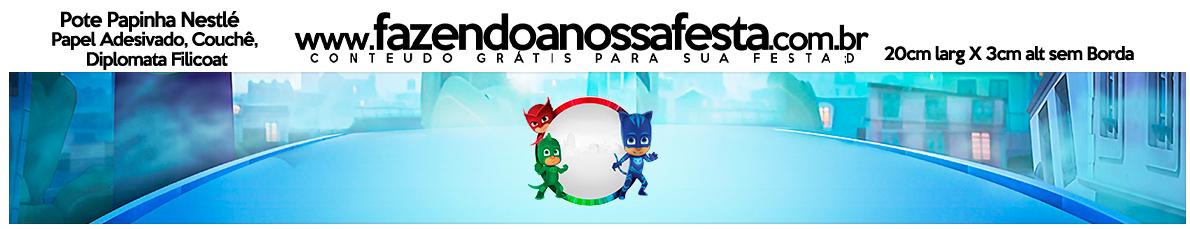 Rótulo Pote Papinha Nestlé PJ Masks Kit Festa