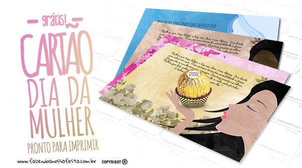 Cartão Dia da Mulher com bombom