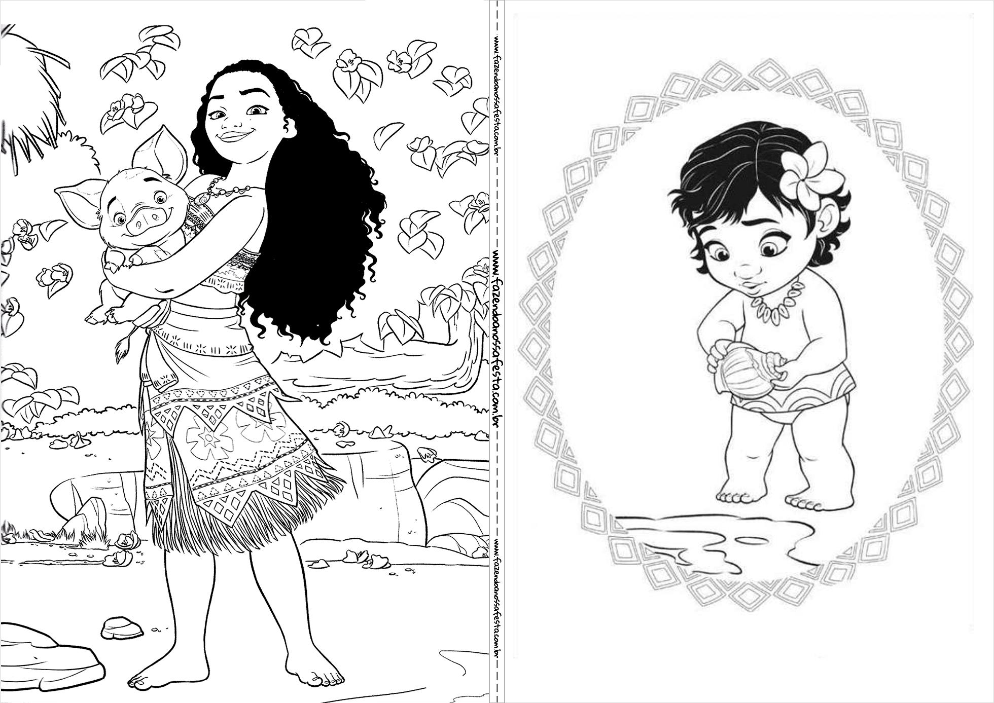 Dibujo Para Colorear De Maui Personaje Película Moana: Livrinho Para Colorir Moana