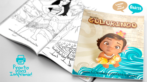 Livrinho para Colorir Moana Modelo