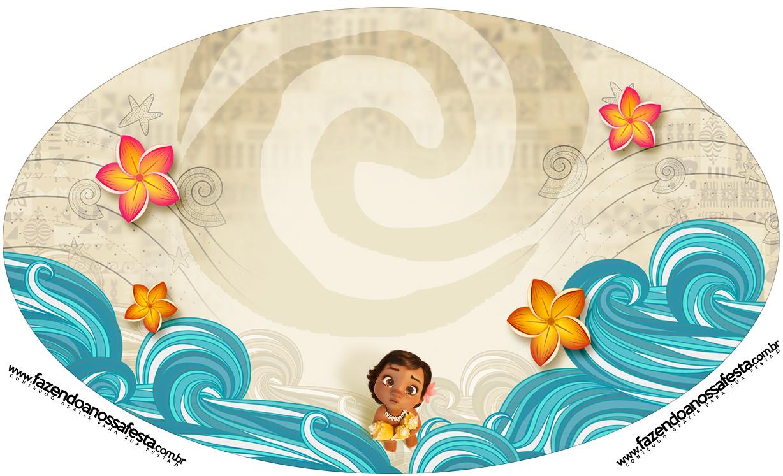 Placa Elipse Moana Baby Kit Festa