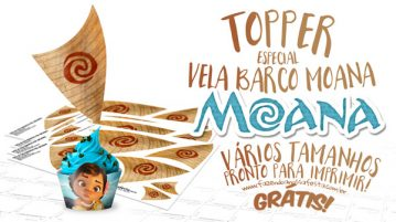 Topper Vela Barco Moana para Imprimir