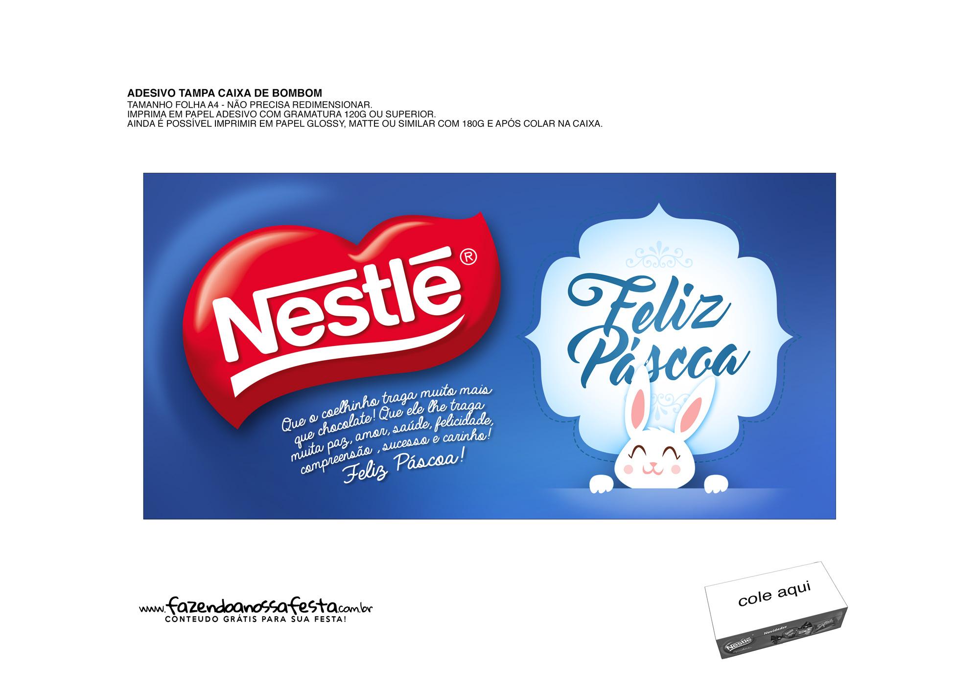 Adesivo para Caixa Bombom de Páscoa Nestlé