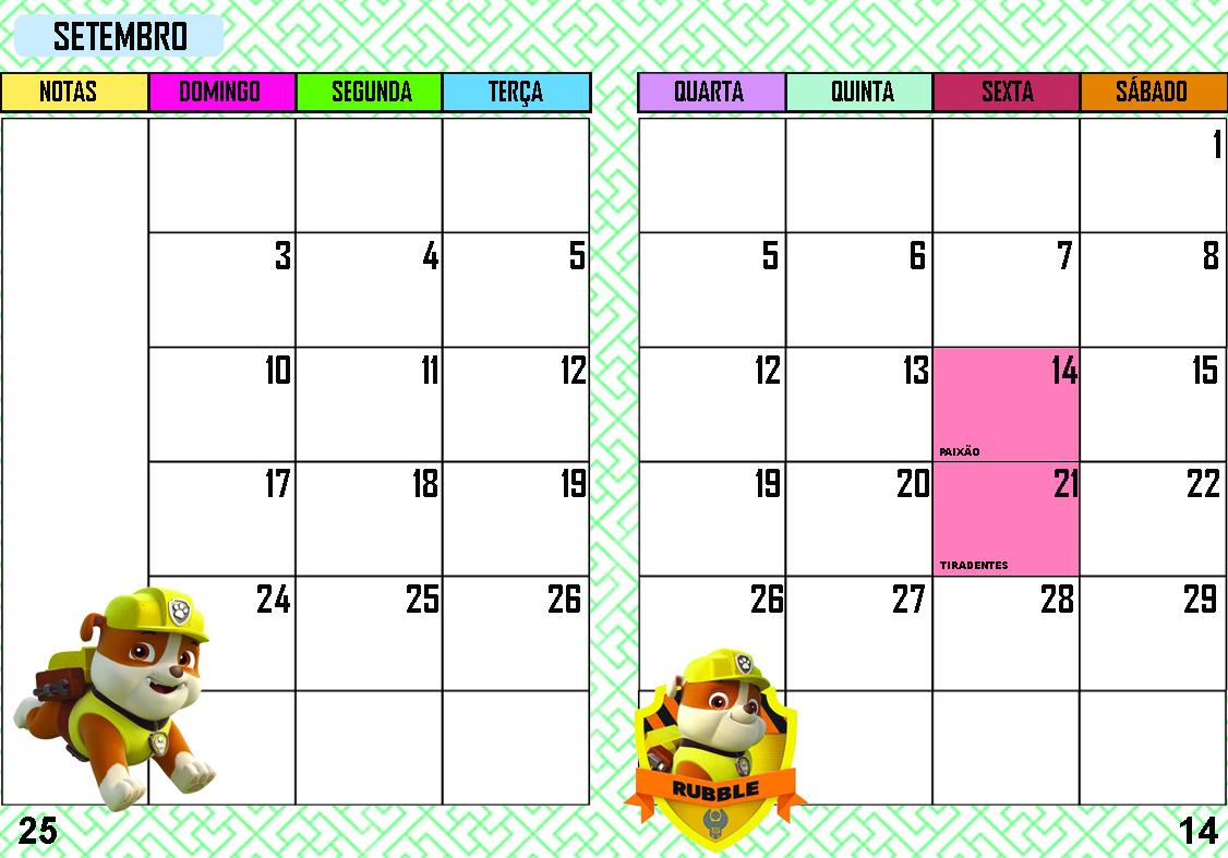 Agenda Patrulha Canina Setembro