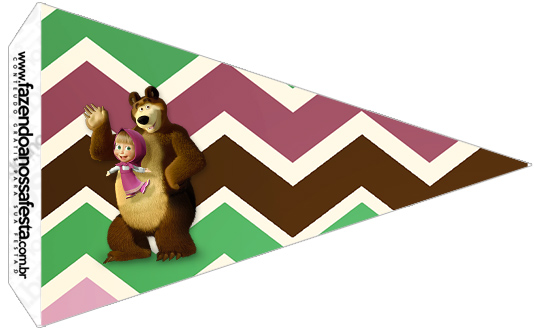 Bandeirinha Sanduiche 3 Masha e o Urso Kit