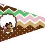 Bandeirinha Sanduiche 5 Masha e o Urso Kit