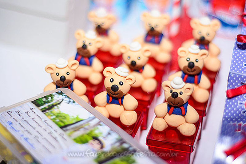 Caixa Acrílico Festa Infantil Ursinho Marinheiro do Miguel