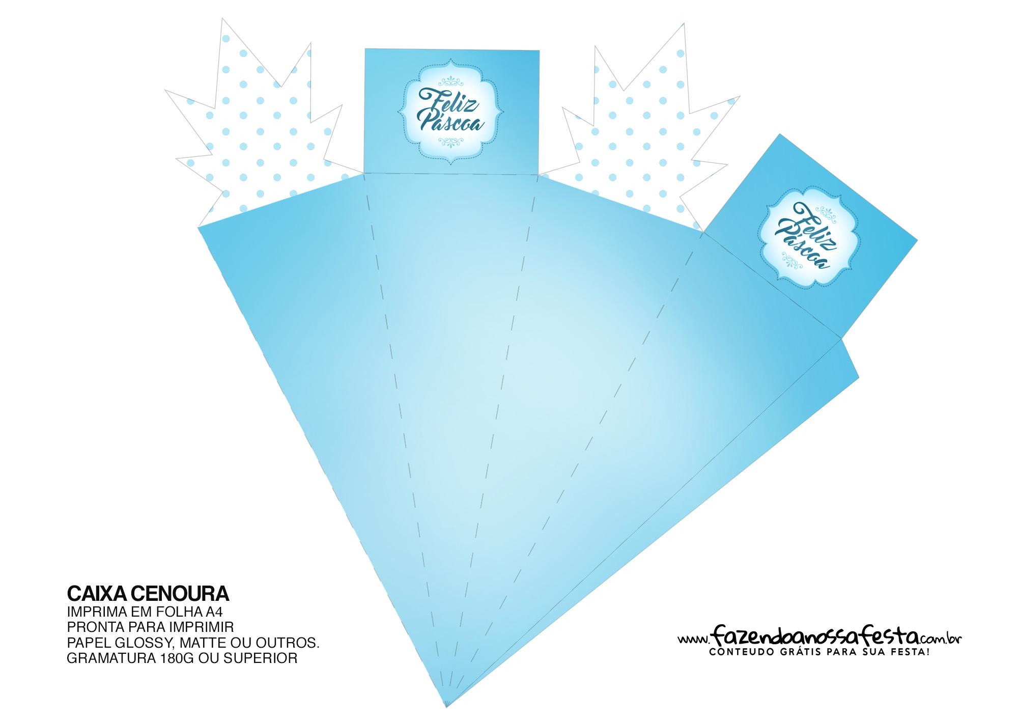 Caixa Cenoura para Páscoa Azul 44