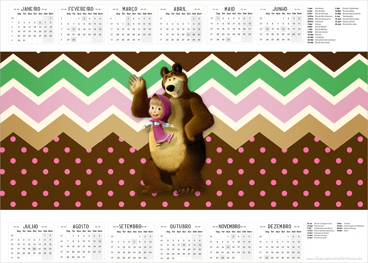 Calendario 2017 Masha e o Urso Kit