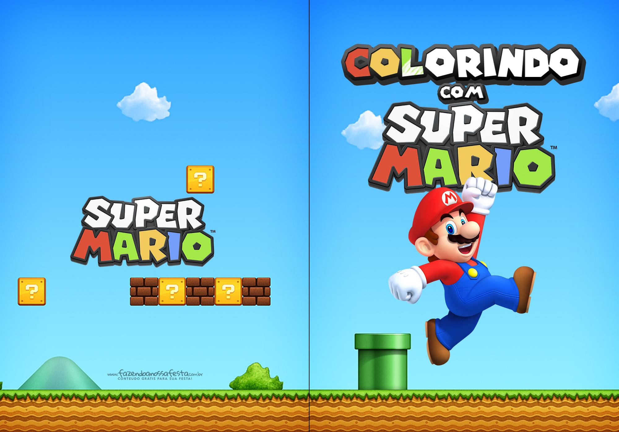 Capa Livrinho para Colorir Mario Bros