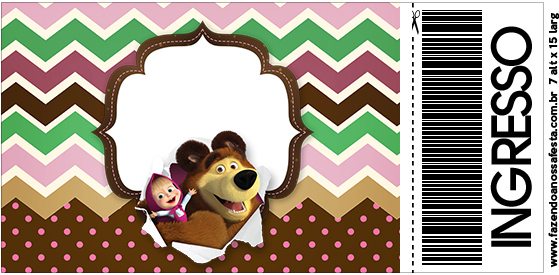 Convite Ingresso Masha e o Urso Kit Festa
