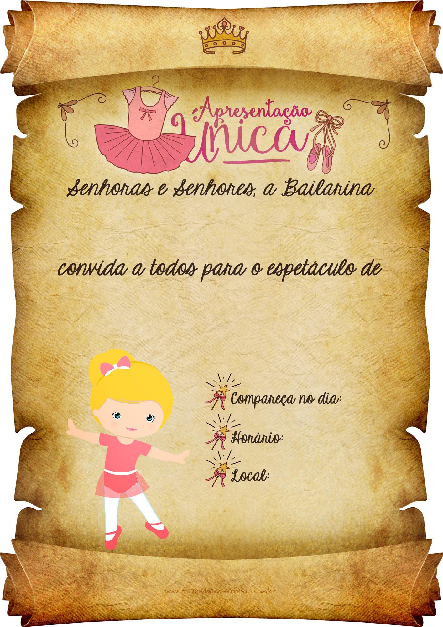 Convite Pergaminho Bailarina 2