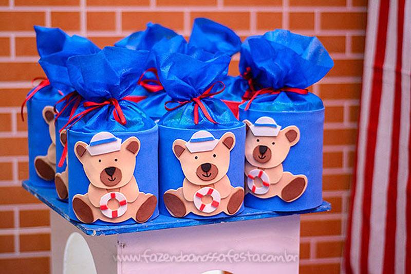 Lata de leite personalizada Festa Infantil Ursinho Marinheiro do Miguel