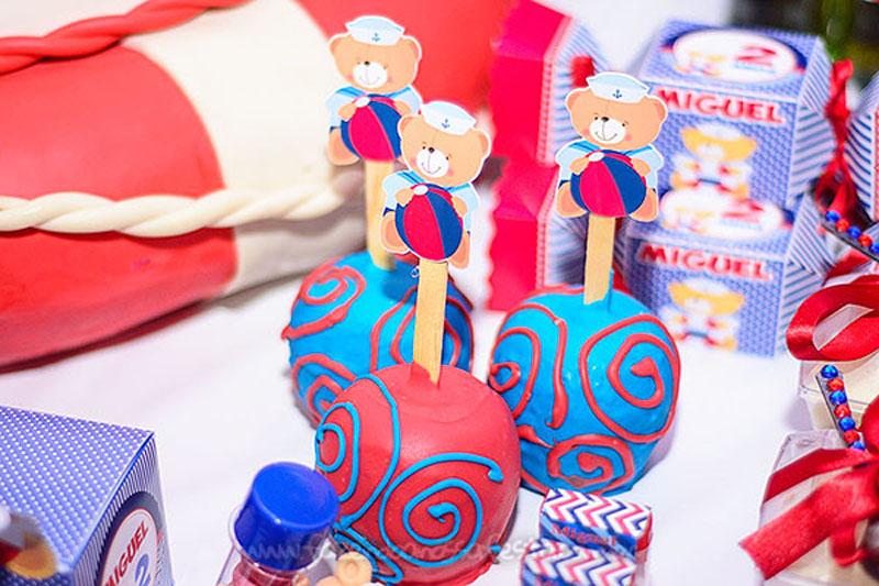 Maça do amor Festa Infantil Ursinho Marinheiro do Miguel