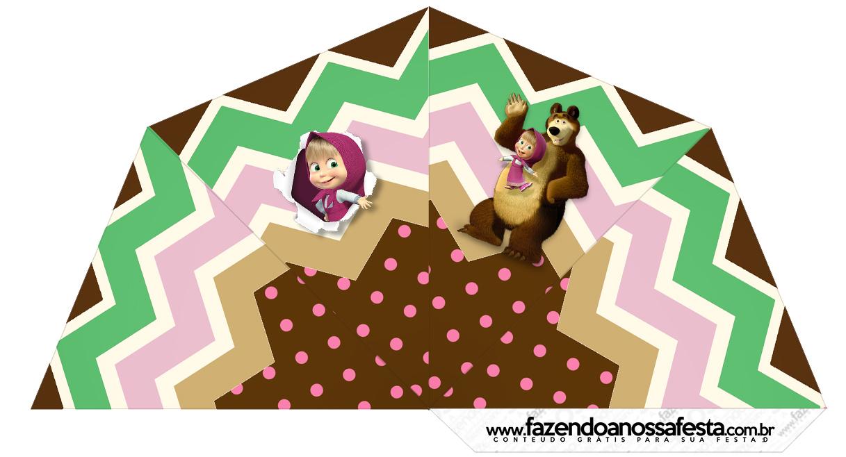 Cone Guloseimas 4 lados Masha e o Urso Kit