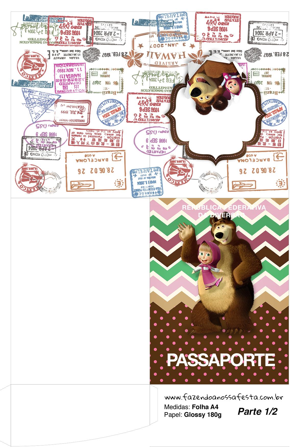 Molde Passaporte Masha e o Urso Kit