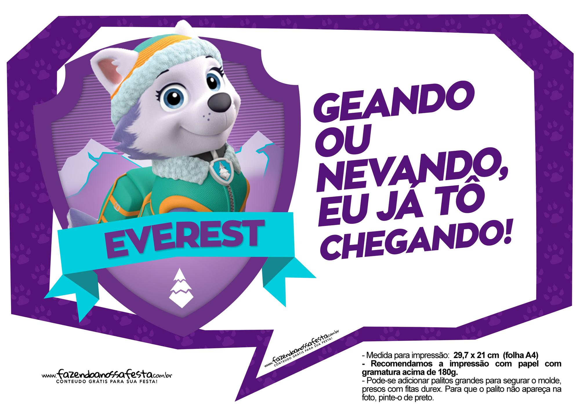 Plaquinhas para festa Patrulha Canina Everest