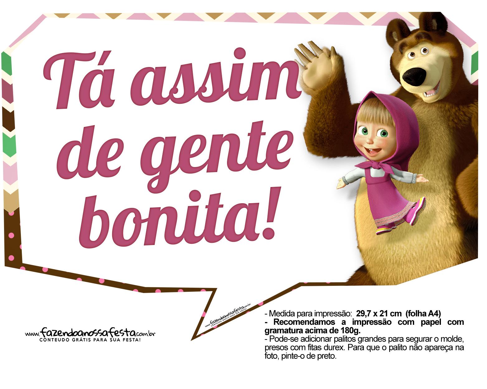Plaquinhas para festa Masha e o Urso 2