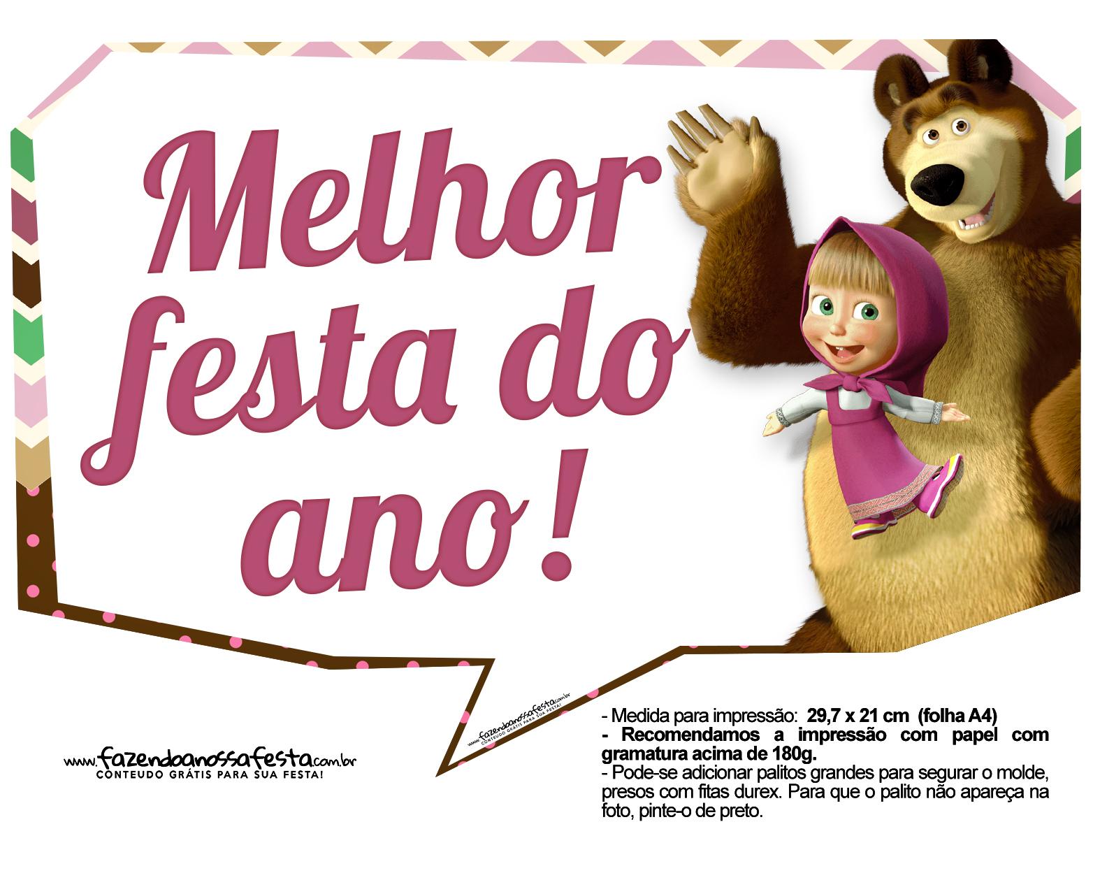 Plaquinhas para festa Masha e o Urso 3