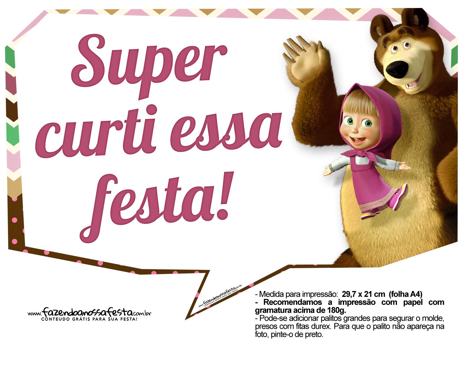 Plaquinhas para festa Masha e o Urso 6