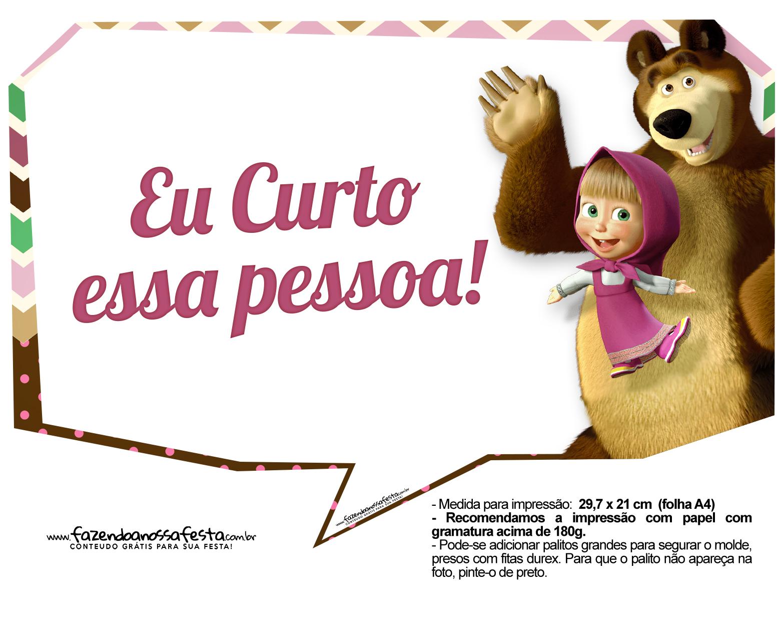 Plaquinhas para fotos Masha e o Urso 11