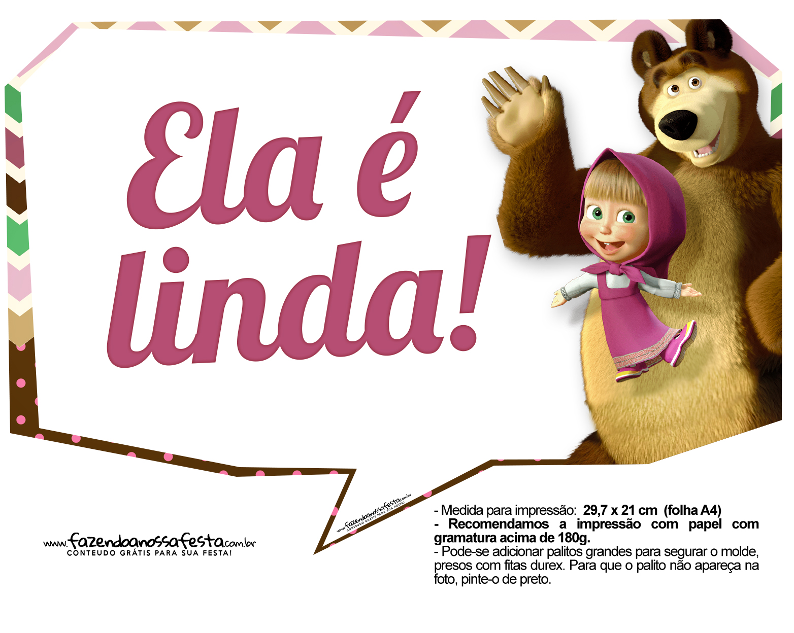 Plaquinhas para fotos Masha e o Urso 12