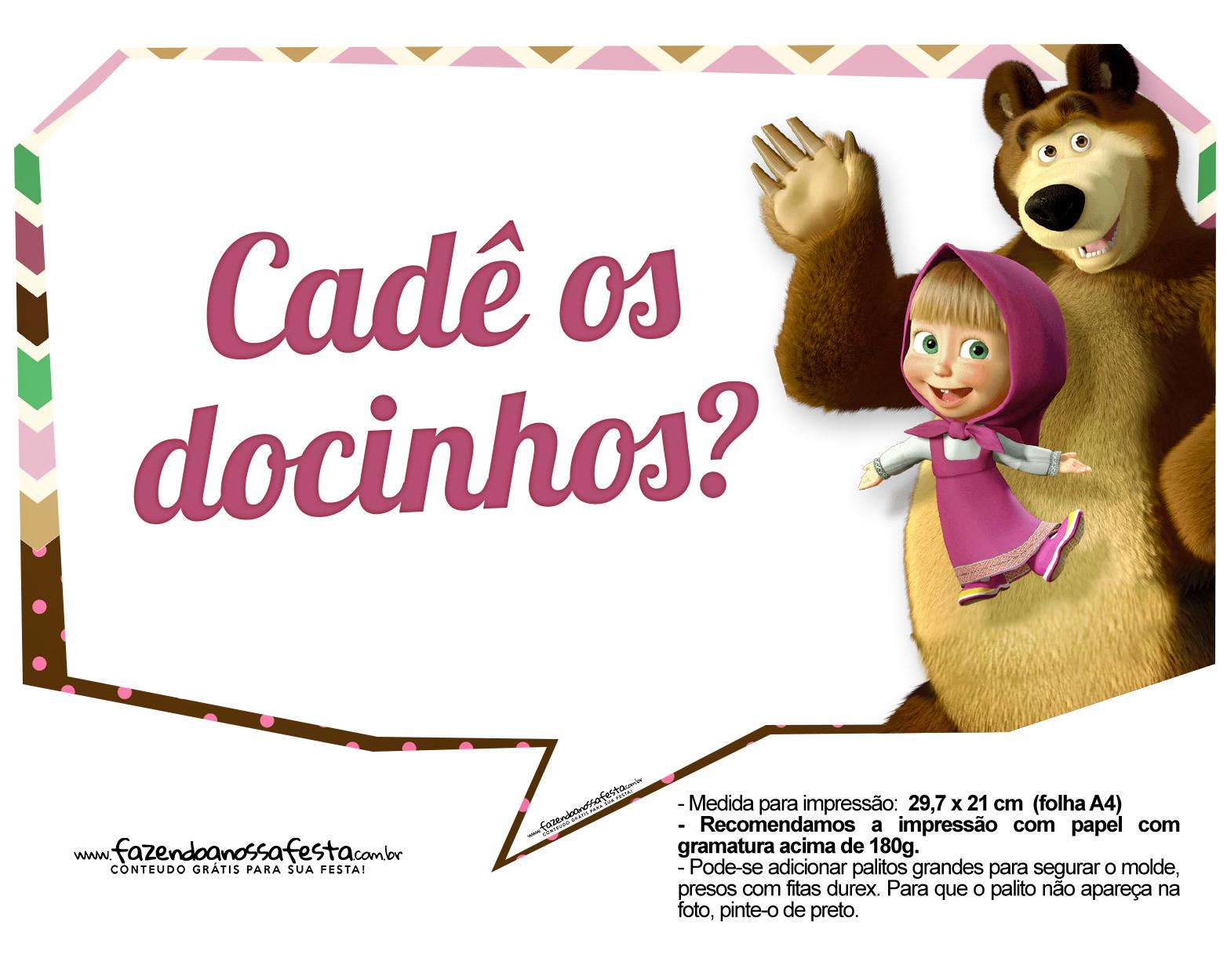 Plaquinhas para fotos Masha e o Urso 6